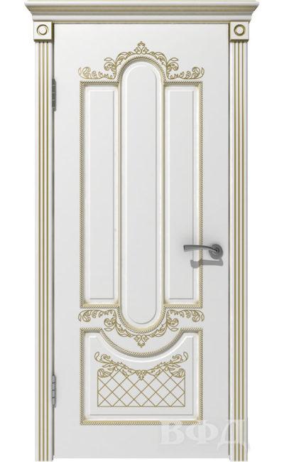 Двери от ВФД - Александрия белая эмаль патина золото глухая в Симферополе.