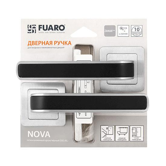 Дверная ручка Fuaro NOVA XM-HD SSC-BL-16 сатин хром/черный в Симферополе.