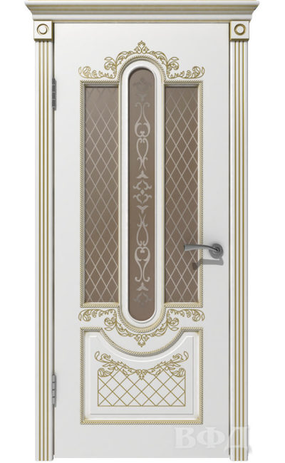 Двери от ВФД - Александрия белая эмаль патина золото стекло бронза в Симферополе.
