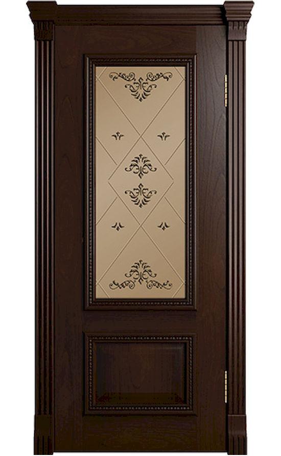 Двери ЛайнДор - Виолетта-Д (Б06) Тон 30 Шоколад стекло
