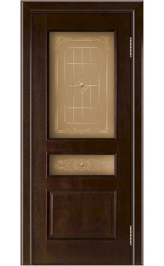 Двери ЛайнДор - Калина Тон 18 Красное дерево стекло