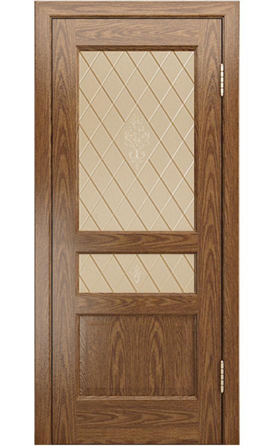 Двери ЛайнДор - Калина-К Тон 45 Дуб натуральный стекло