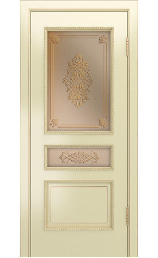Двери ЛайнДор - Калина-ПН эмаль бисквит патина золото стекло
