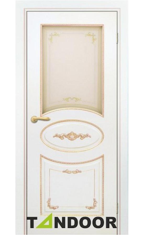 Купить двери Амелия-2 Эмаль слоновая кость патина золото стекло в Симферополе