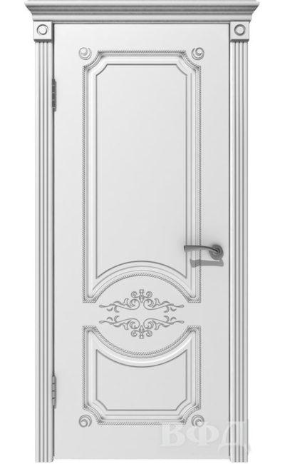Двери от ВФД - Милана белая эмаль патина серебро глухая в Симферополе.