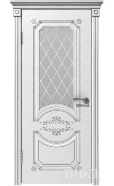 Двери от ВФД - Милана белая эмаль патина серебро стекло в Симферополе.