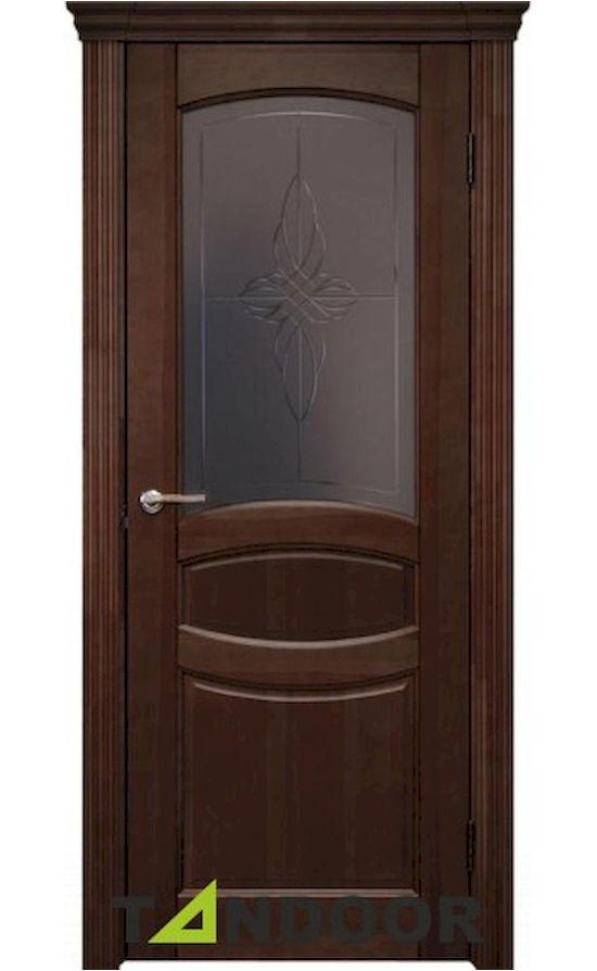Купить двери Виктория Средний орех морение стекло в Симферополе