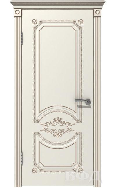 Двери от ВФД - Милана эмаль слоновая кость патина капучино глухая в Симферополе.