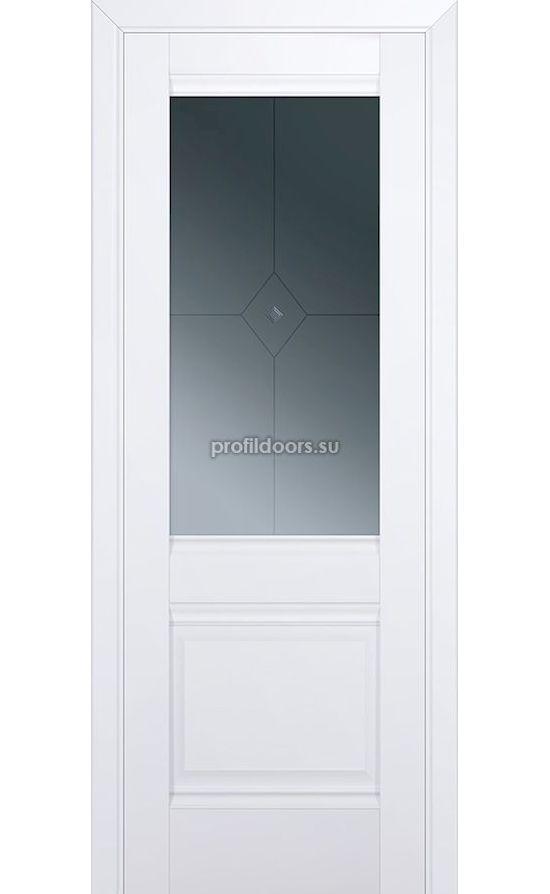 Двери Профильдорс, модель 2U аляска стекло ромб (U классика) в Крыму