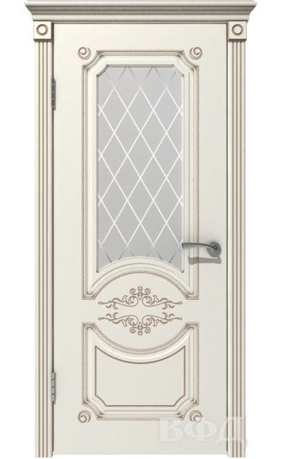 Двери от ВФД - Милана эмаль слоновая кость патина капучино стекло белое в Симферополе.