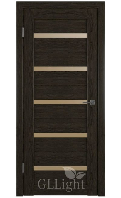 Двери Грин Лайн, модель GLLight 7 (дуб шоколад, бронзовый сатинат) в Симферополе