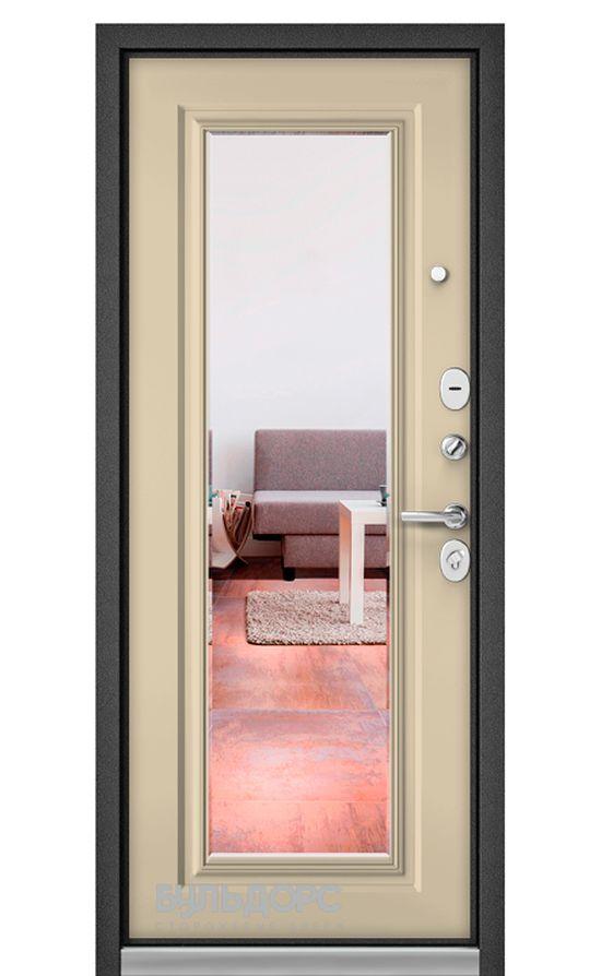 Входная дверь Бульдорс Standart 90 Шелк/Ваниль Софт 9S-140 Зеркало